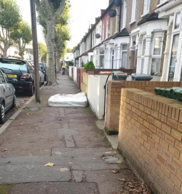 fly tipping of a mattress on Creighton Avenue -49 St Martins Avenue, London, E6 3DU