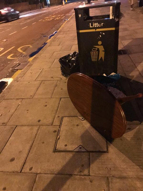 I reported this yesterday and received a message saying it had been cleared but it is still here outside Woodgrange Pharmacy -104a Woodgrange Road, London, E7 0EP