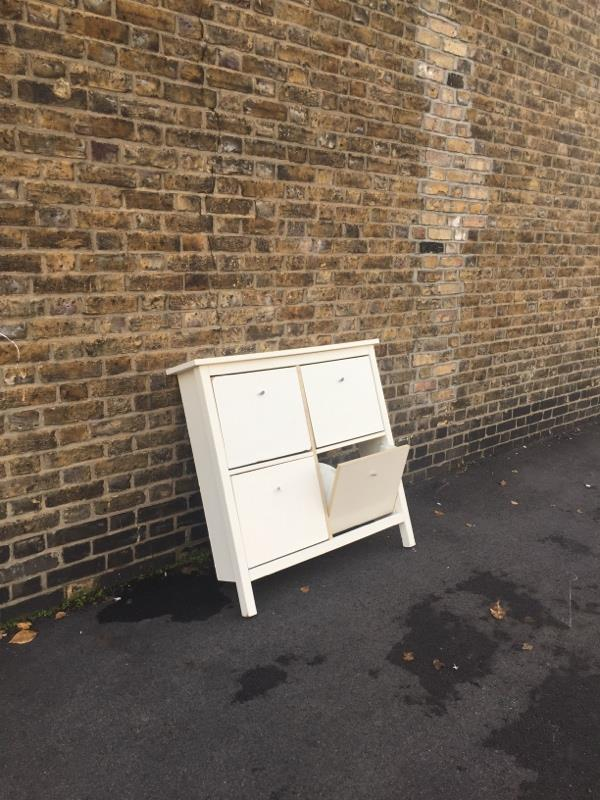 Fly tipped shoe rack-Basle House Albert Square, London, E15 1HH