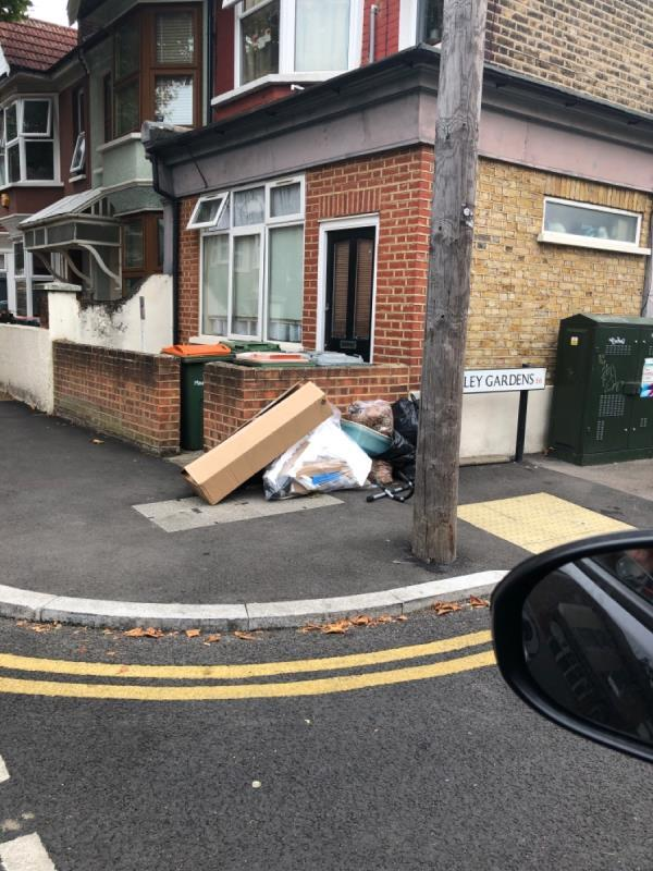 Fly tipping at the corner of Haldane road: Chesley gardens -62 Haldane Road, East Ham, E6 3JN
