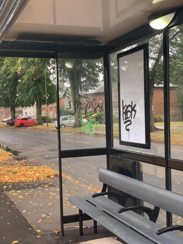 Graffiti been put on the bus Shelter on Hallam Crescent East-183 Hallam Crescent East, Leicester, LE3 1FH