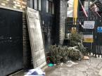 Fly tipping / rubbish dumped in alley between Westland Place Studios and Shepherdess Rd. Inc. wheelchair ramp from now defunct 15 Restaurant -20 Westland Place, London, N1 7LP