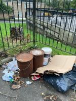 Mattress, paint tins, chemical containers dumped by the convenience store on High Level Drive. Please could you arrange to remove. Many thanks.  image 1-1 High Level Drive, London, SE26 6XT