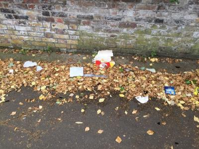 Always rubbish along this walkway. Please install a bin and add to your street cleaning routes.  image 1-Evelyn Ct, Clapton, London E8 2BN, UK