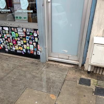 Dog mess left by owner outside Atom Gallery.....-Petherton Road, Stoke Newington, London N5, UK