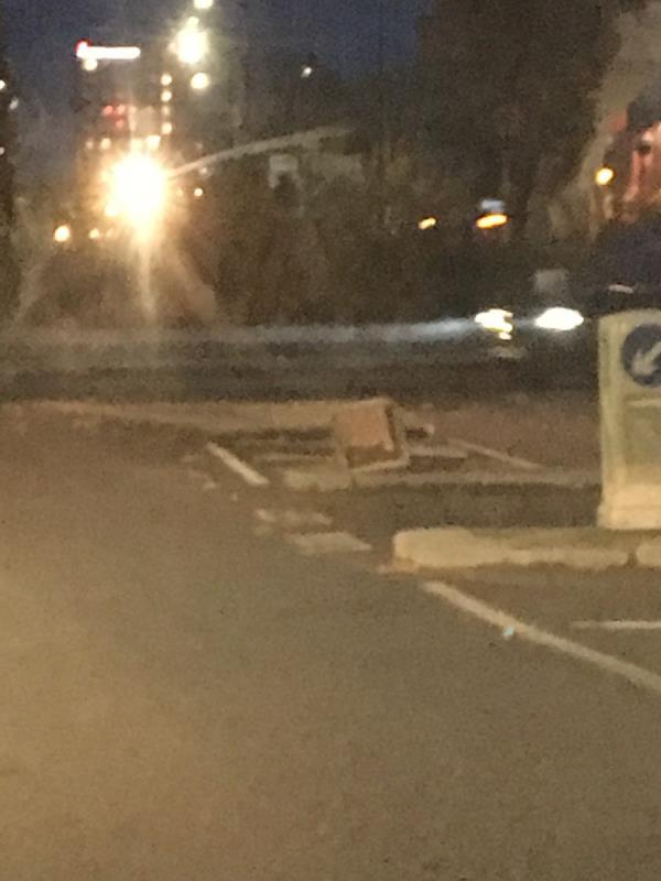 Knocked over keep left bollard at entrance to Thames Road -Thames Road, London, E16 2EZ