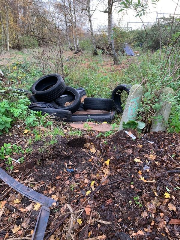 Tyres, genera rubbish bags and a tent all in the woodland at the bottom of Tesco car park (by the recycling).-184 Luscinia View Napier Road, Reading, RG1 8AG
