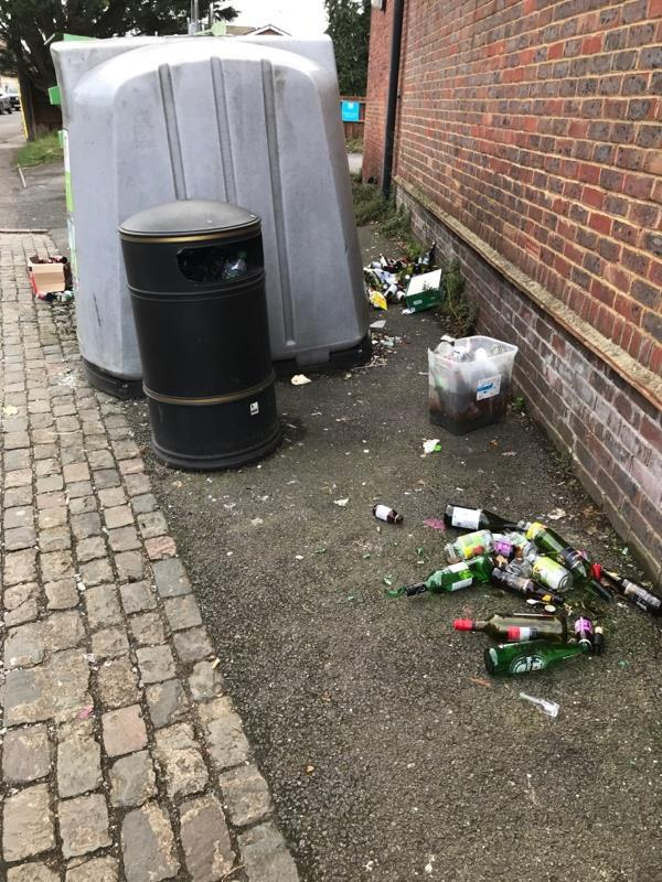 There is a constant build up of rubbish and glass which is not being taken away. Please can you help sort this -1b Donkin Hill, Reading, RG4 5DG