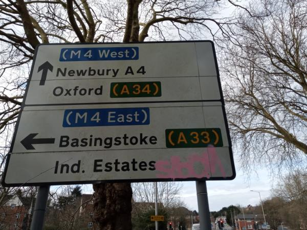 Graffiti on the sign -Belford Court, Laud Cl, Coley Park, Reading RG1 6RE, UK