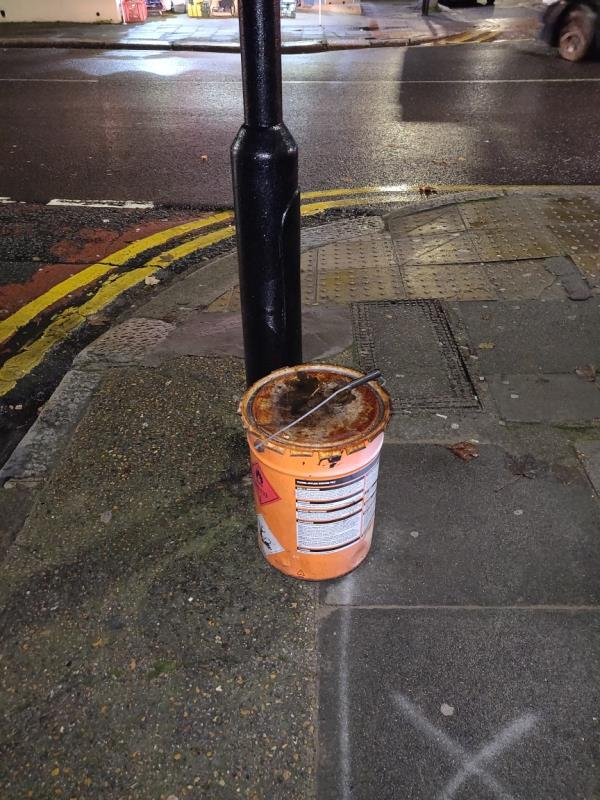 Someone has fly tipped a tin of something-22 Green Street, London, E7 8BZ