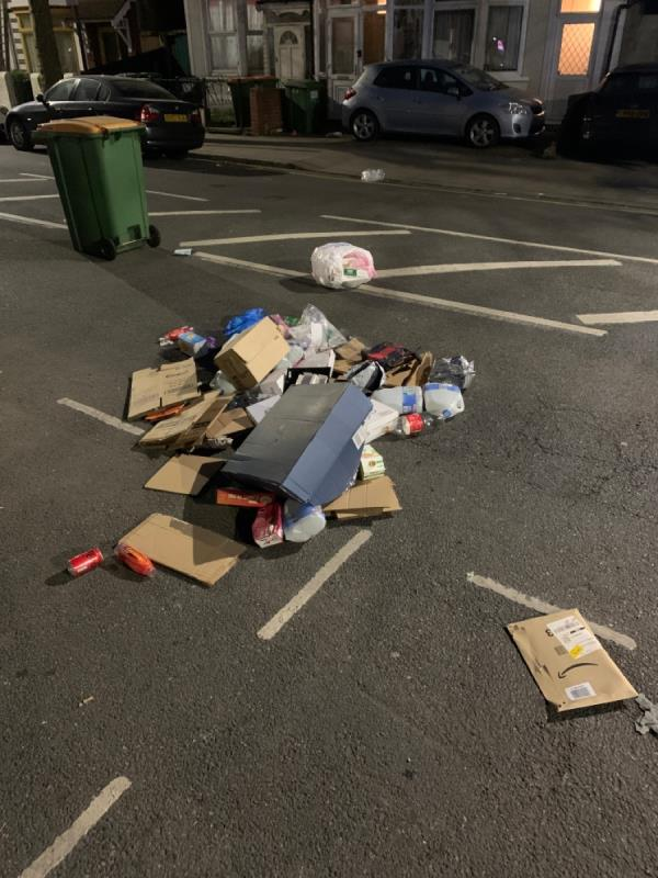 Rubbish dumped by bin lorry drivers and they left without collection -87 Central Park Road, East Ham, E6 3DW