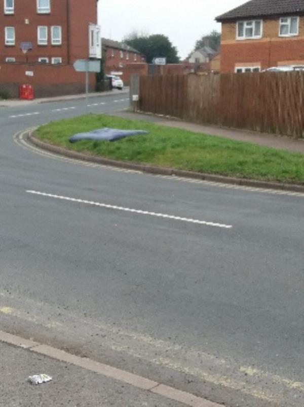 inflatable mattress dumped on side of road-18 Asha Marge Asha Margh, Leicester, LE4 5LE