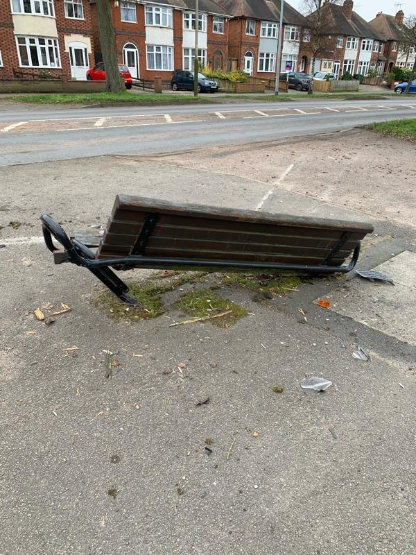 Damaged seat opposite shops on Wyngate Drive-136 Wyngate Drive, Leicester, LE3 0UT