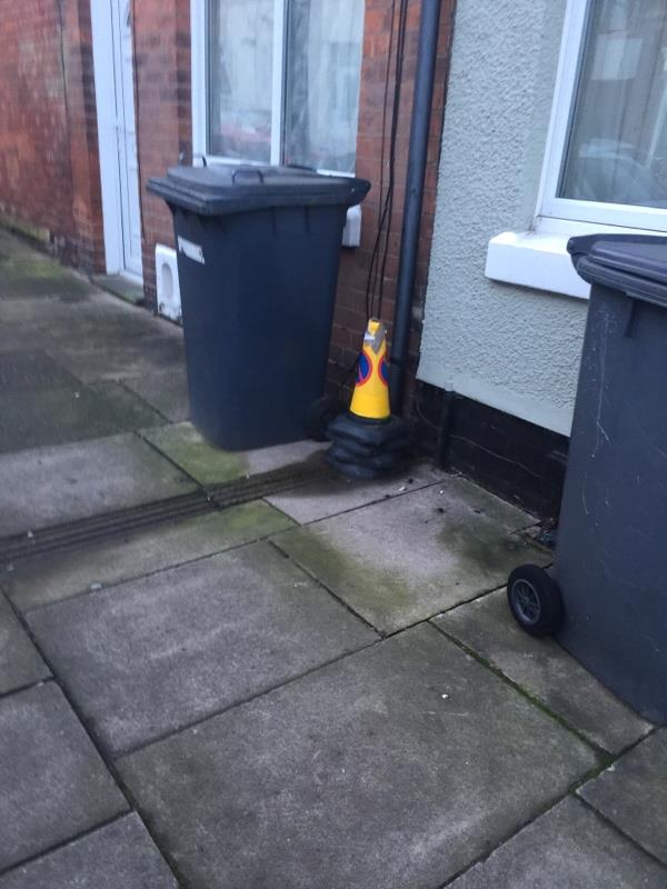 Cones left on street outside the top of Lord Byron Street for several weeks since the previous owner vacated -25 Lord Byron Street, Leicester, LE2 6DU