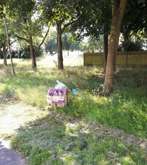 Discarded children's toys on grassed area. -233 Glenhills Boulevard, Leicester, LE2 8UJ