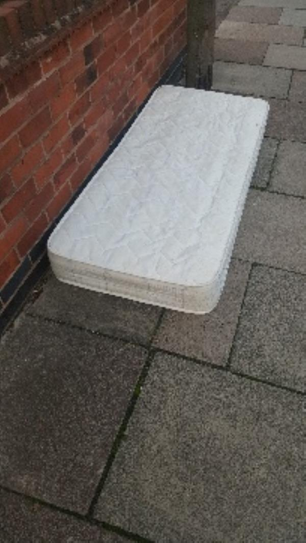 dumped mattress outside doctors. bosworth st-344 Fosse Rd N, Leicester LE3 5RR, UK