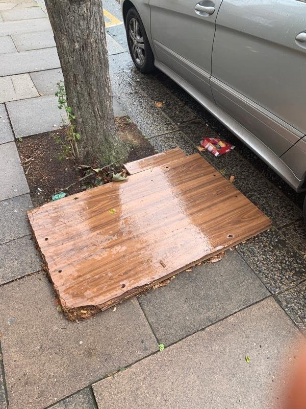 This slab of wood has been there for weeks now-69 Manor Park Road, London, E12 5AB