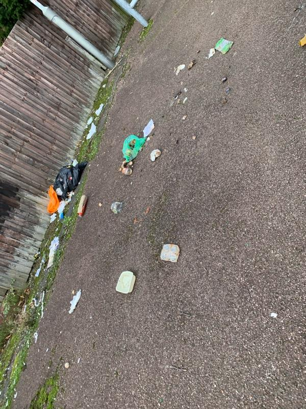 Flytipping in the alley way at the end of fozdar crescent -32 Fozdar Crescent, Wolverhampton, WV14 9UH