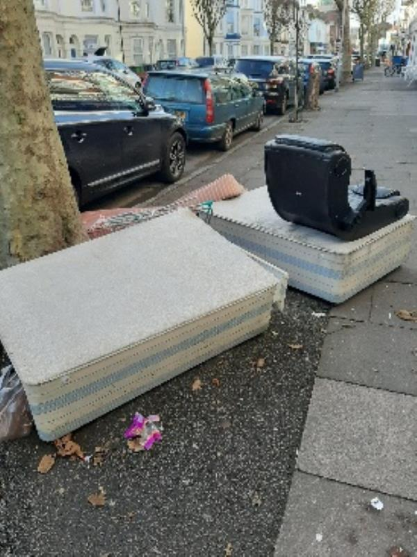 outside Sally army pevensey rd single mattress bed base and chair-46a Pevensey Road, Eastbourne, BN21 3HQ