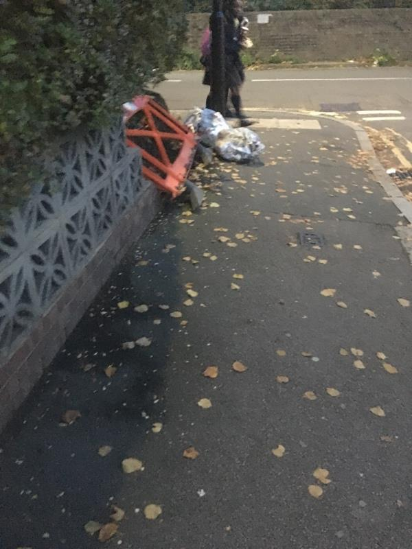 Bags here days leaves and rubbish both sides if footpath  image 1-127 Forest Lane, London, E7 9BB