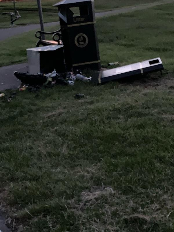 Bin has been smashed on the field near childs avenue park-25 Sherwin Ave, Bilston WV14 9RX, UK