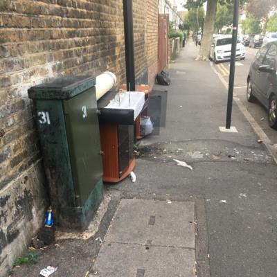 Customers of the William hill shop, 165 homerton high street, regularly leave their empties (such as cans, bottles etc) and drop cigarettes on the pavement. This is an ongoing issue -167a Homerton High Street, London, E9 6BB