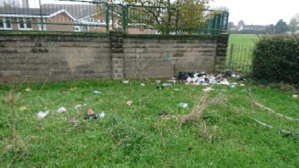 House old waste removedl lots of litter in grass area-83 Church End Lane, Reading, RG30 4UR
