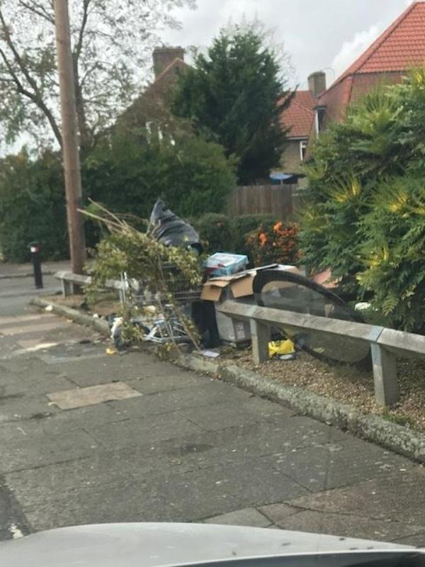 Athelney Street junction of zfirhill Road flytip on corner plot-63 Athelney Street, Bellingham, SE6 3LD