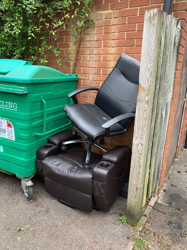 Flytipping in bin store of Lock Place -28 Lock Place, Reading, RG1 3HG