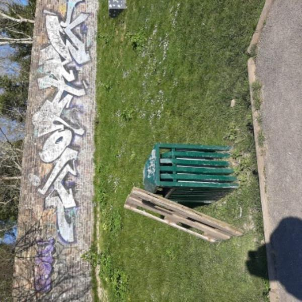 SEESL 25/03/20. FLY-TIP - Pallet by hin in Hampden Park skate park. Please remove.-Paget House Kings Drive, Eastbourne, BN21 2YU