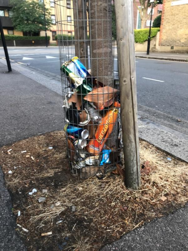 Litter placed in tree protector-2 Hollington Road, East Ham, E6 3RW