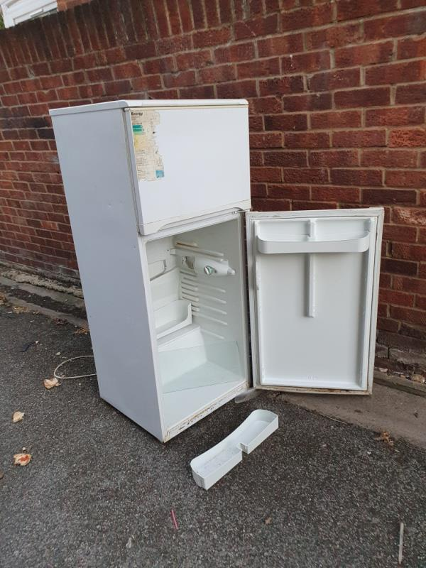 a fridge discarded in the southern footpath between Young Road and Croombs Road-86 Croombs Road, Canning Town, E16 3RZ