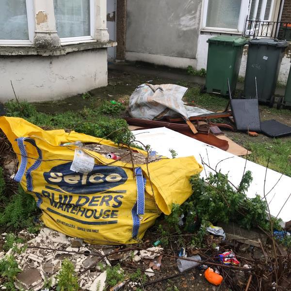 This front garden at 456 Katherine road is always a complete tip and has rubbish dumped in it. It's a disgrace -456a Katherine Road, London, E7 8NP