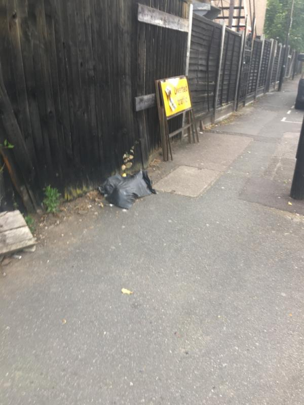 Diversion signs and sand bags here a year-126 Forest Lane, London, E7 9BB