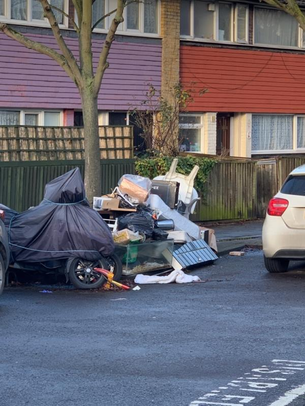 As you can see in the picture, people are using the area as a fly tip, as fast as the council takes it away more appears! Can the council not put up a CCTV camera to find out who it is and stop them! And help make our streets clean and healthily fit for use -40 Malmesbury Terrace, London, E16 4PL