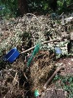 a huge heap of green waste, carpets, plastic items, wood etc has been flytipped in Victoria Rd by the cemetery hedge image 1-22 Victoria Road, Reading, RG4 7QY