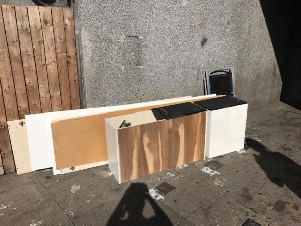 Fly tipping by front door 193 Wensley Road -Wensley Court, 193 Wensley Road, Reading, RG1 6EA