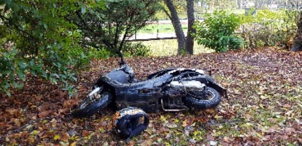 Moped abandoned in East park near Clocktower and cycle track-School House Hollington Road, Wolverhampton, WV1 2DS
