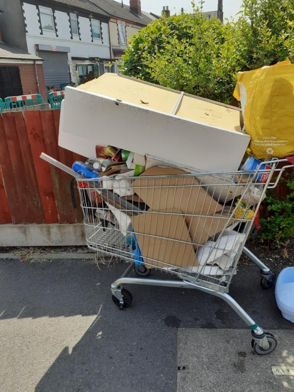 THIS trolley and fridge has been left on the corner of merridale St West &owenrd ,people have been saying that it's the councils job to get rid of the rubbish they leave on the streets as they have been removing it for them since they have come here,we have heard it many times. -71 Owen Road, Wolverhampton, WV3 0AL