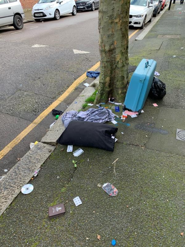 More stuff mindlessly dumped. The bag has been ripped open by foxes and waste is everywhere now. -58 South Esk Road, London, E7 8EY