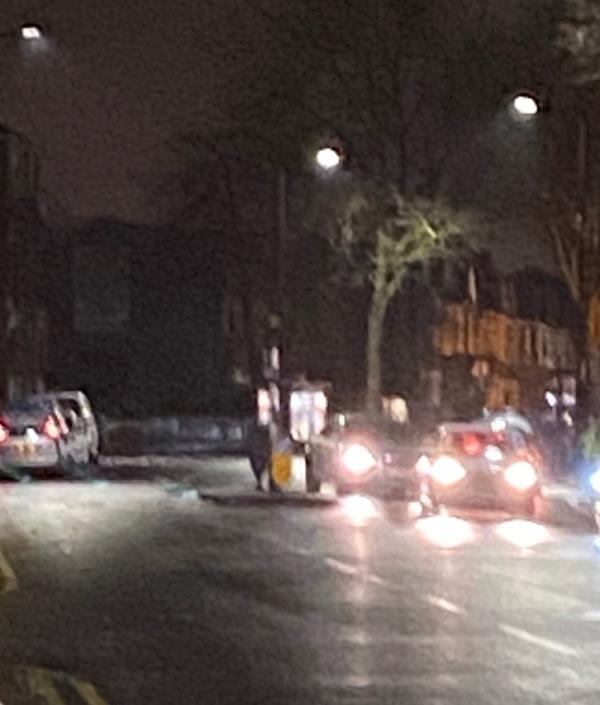 Belisha Beacon on central island near Poulett Road junction not working -15 High Street South, London, E6 6EN