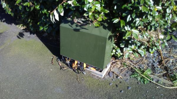 This junction box at the corner of Goldhill Gardens and Goldhill Road needs attention.-4 goldhill road
