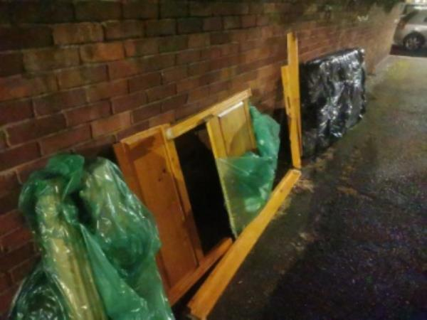 Rubbish, wood left -9 Sark Walk, London E16 3PT, UK