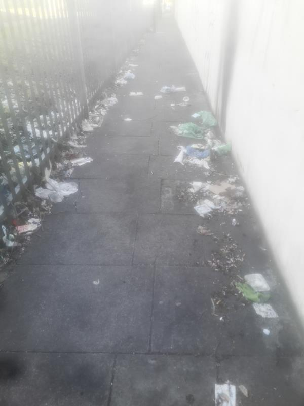 Rubbish everywhere on the alley off Perth Rd running parallel to lister AstroTurf pitch -66 Perth Road, Plaistow, E13 9DU