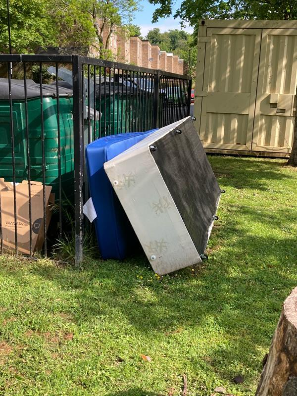 Mattress, divan and several black sacks dumped by the Green Hub on Vigilant Close over a week ago. Please could you arrange to clear. Many thanks. -31 High Level Drive, London, SE26 6XZ