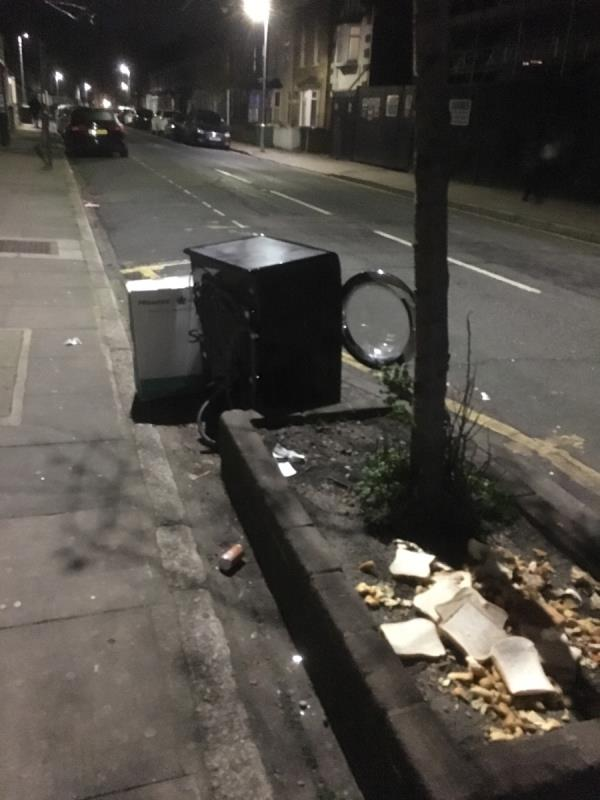 Anyone. Red a fly tipped washing machine and other crap on LOUISE ROAD -24 Water Lane, London, E15 4NL