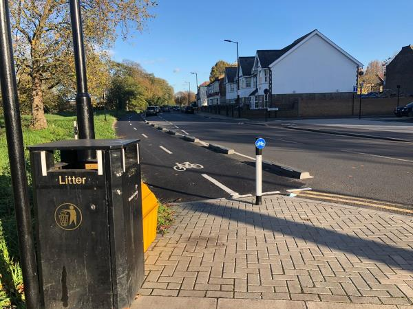 This point is part of Quietway 6. It needs a dropped kerb to enable safe access on & off the cycle track. Particularly dangerous in the dark.  image 1-67 Woodford Road, London, E7 0DJ