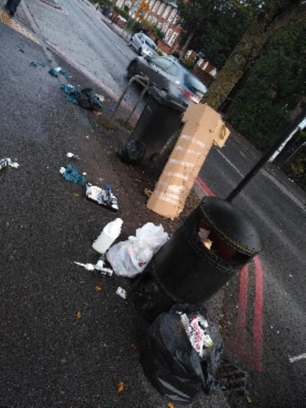 fly tipping and decorators waste dumped by public bin image 1-150 Oxford Road, Reading, RG1 7PJ