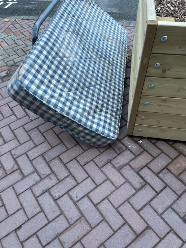 Dumped mattress -54 Church Gate, Leicester, LE1 3AL