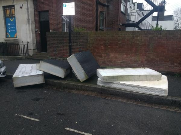 Bed and mattresses on Crosby Road, near junction with Romford Road-Crosby House Crosby Road, London, E7 9HX